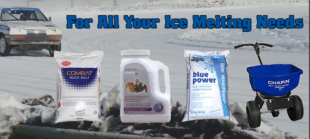 For all your ice melting needs. Image of a car on a snowy street. Featured products are Rock Salt, Ice Melter, and a salt spreader.
